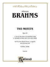 Johannes Brahms : Two Motets, Opus 29 : SATBB : Songbook : 029156133318  : 00-K06105