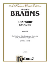 Johannes Brahms : Rhapsody (Rhapsodie), Opus 53 : TTBB with A Solo : 01 Songbook : 029156169386  : 00-K06108