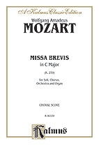Wolfgang Amadeus Mozart : Missa Brevis in C Major, K. 259 : SATB divisi : 01 Songbook : 029156071900  : 00-K06339