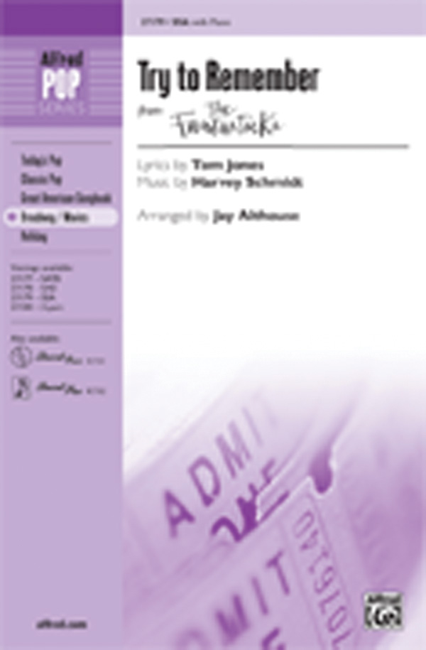 Try to Remember : SSA : Jay Althouse : Harvey Schmidt : The Fantasticks : Sheet Music : 00-27179 : 038081294391