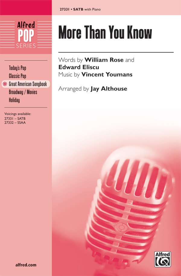 More Than You Know : SATB : Jay Althouse : Jule Styne : Funny Girl : Songbook : 00-27331 : 038081295916