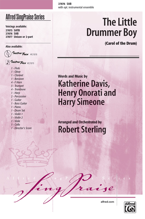 The Little Drummer Boy : SAB : Robert Sterling : Henry Onorati : Sheet Music : 00-27876 : 038081304359