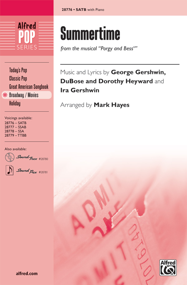 Summertime : SATB : Mark Hayes : George Gershwin : Porgy and Bess : Sheet Music : 00-28776 : 038081313214