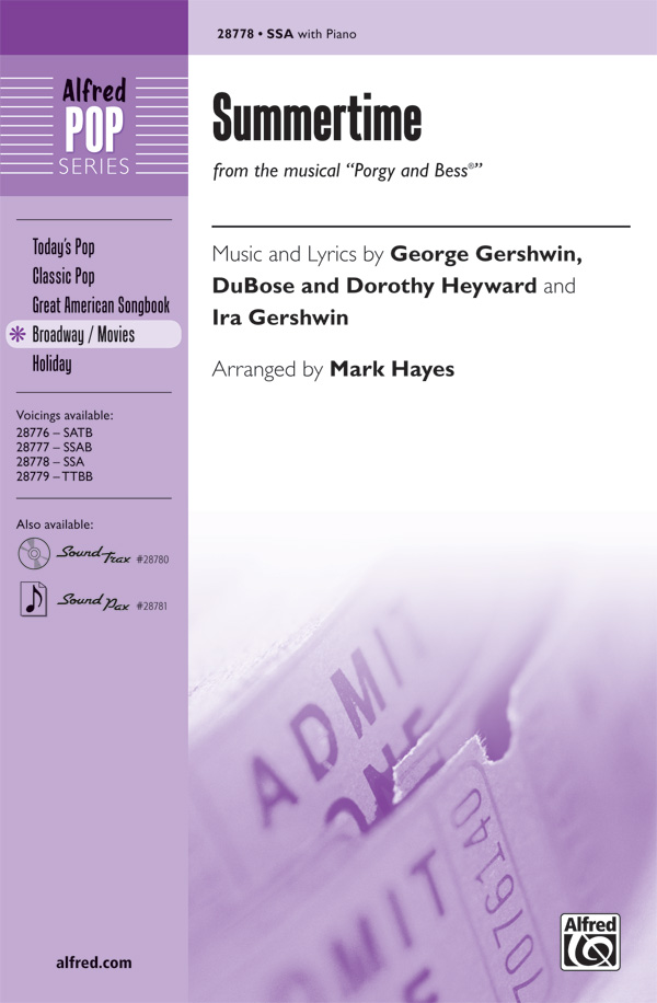 Summertime : SSA : Mark Hayes : George Gershwin : Porgy and Bess : Sheet Music : 00-28778 : 038081313238