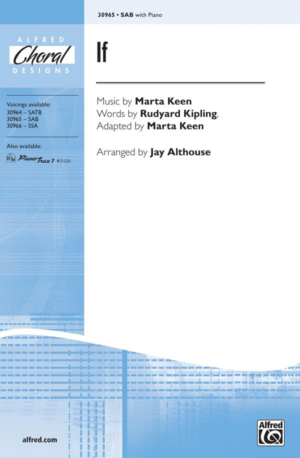 If : SAB : Jay Althouse : Rudyard Kipling : Sheet Music : 00-30965 : 038081337371