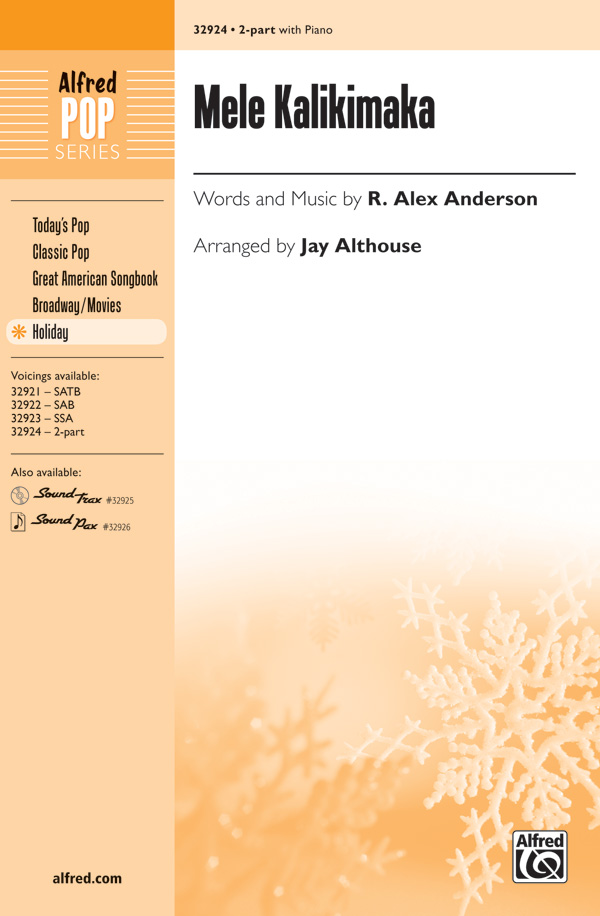 Mele Kalikimaka : 2-Part : Jay Althouse : Bette Midler : Sheet Music : 00-32924 : 038081358321