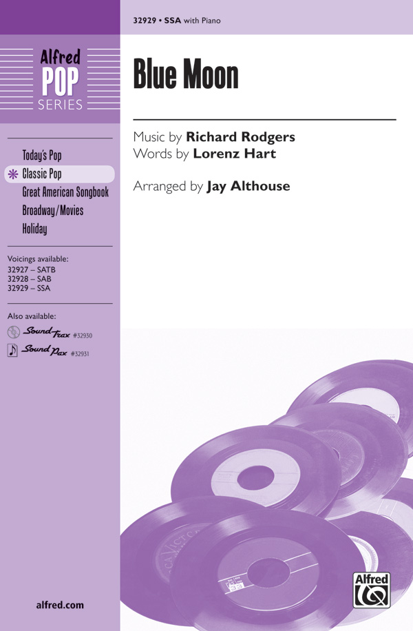 Blue Moon : SSA : Jay Althouse : Richard Rodgers : Sheet Music : 00-32929 : 038081358376
