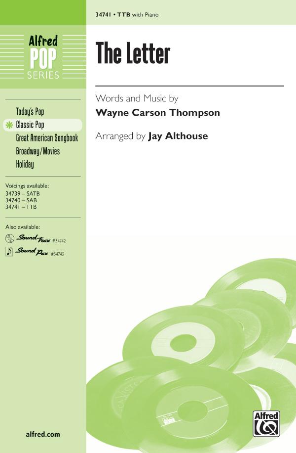 The Letter : TTB : Jay Althouse : Wayne Carson : Boxtops : Sheet Music : 00-34741 : 038081384672