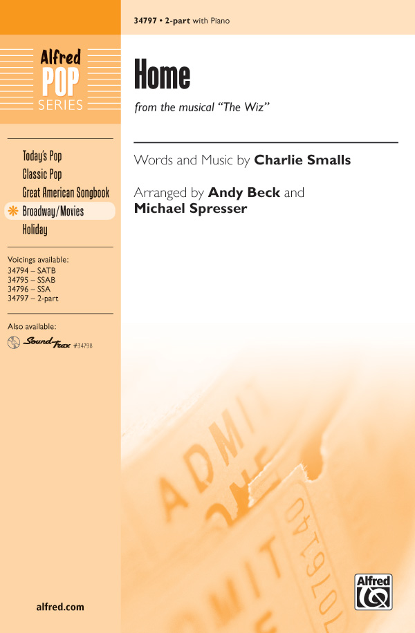 Home : 2-Part : Andy Beck : Charlie Smalls : Kristin Chenoweth : The Wiz : Sheet Music : 00-34797 : 038081396637