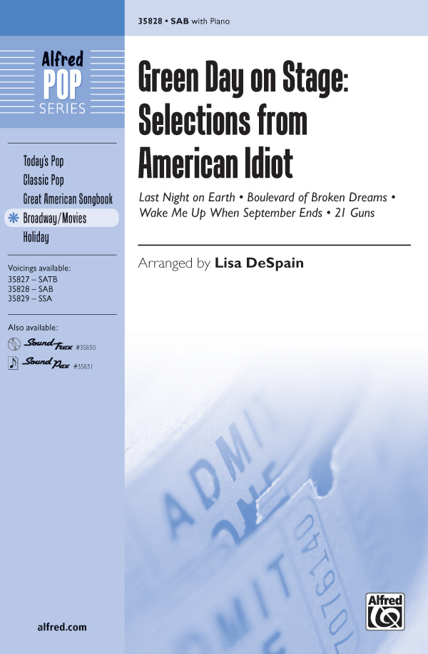 "<span style=""color:red;"">Green Day</span> on Stage: Selections from American Idiot : SAB : Lisa DeSpain : Green Day : American Idiot : Sheet Music : 00-35828 : 038081400242"