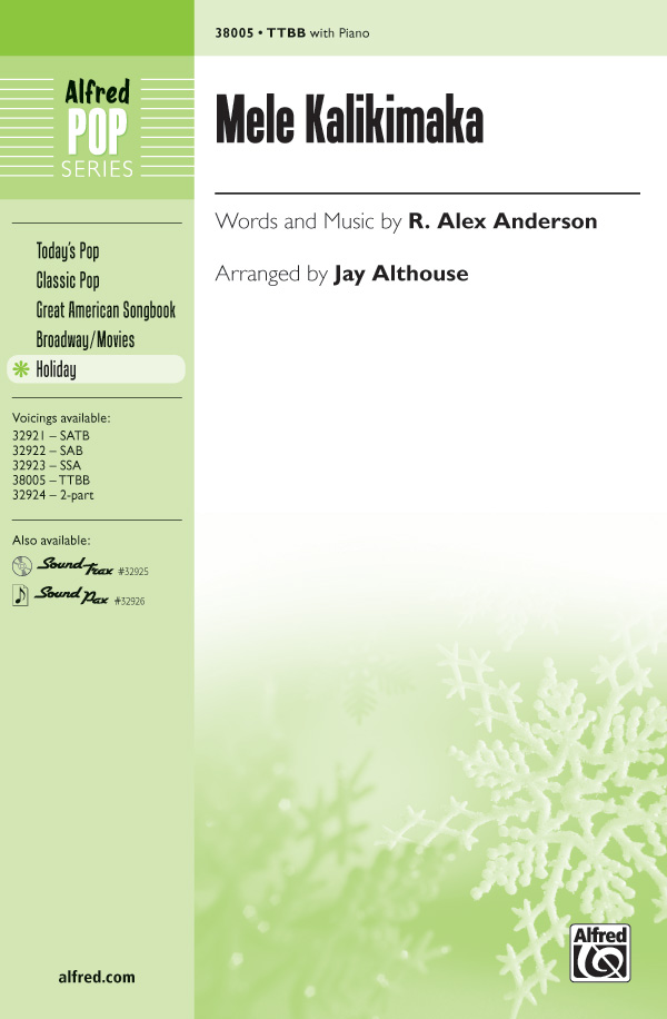 Mele Kalikimaka : TTBB : Jay Althouse : R. Alex Anderson : Bette Midler : Sheet Music : 00-38005 : 038081424774