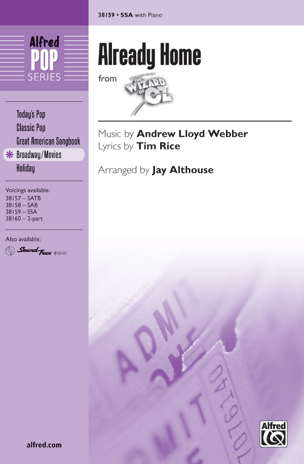 Already Home : SSA : Jay Althouse : Harold Arlen : The Wizard of Oz : Sheet Music : 00-38159 : 038081426310