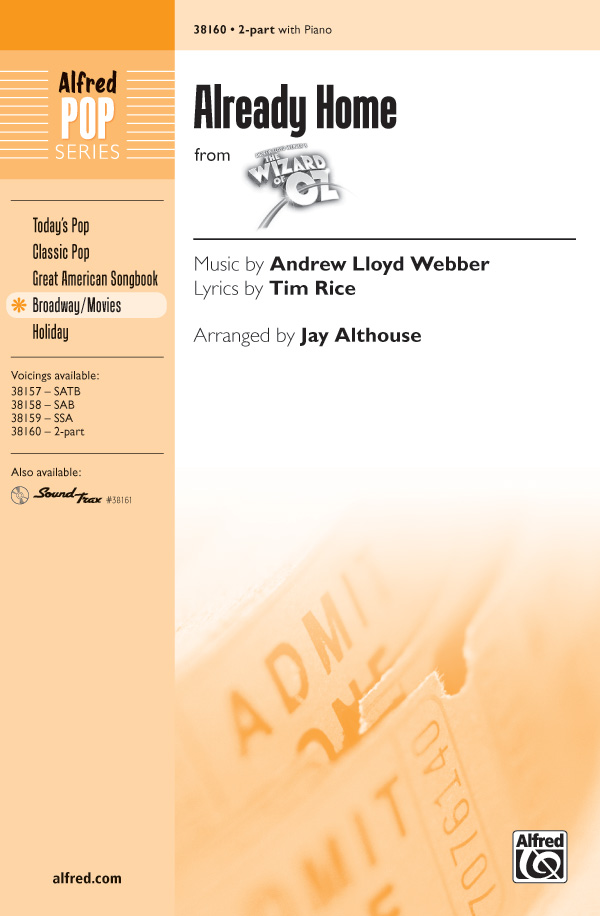 Already Home : 2-Part : Jay Althouse : Harold Arlen : The Wizard of Oz : Sheet Music : 00-38160 : 038081426327
