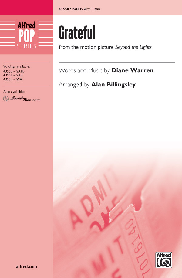 Grateful : SATB : Alan Billingsley  : Diane Warren : Rita Ora : Sheet Music : 00-43550 : 038081490908
