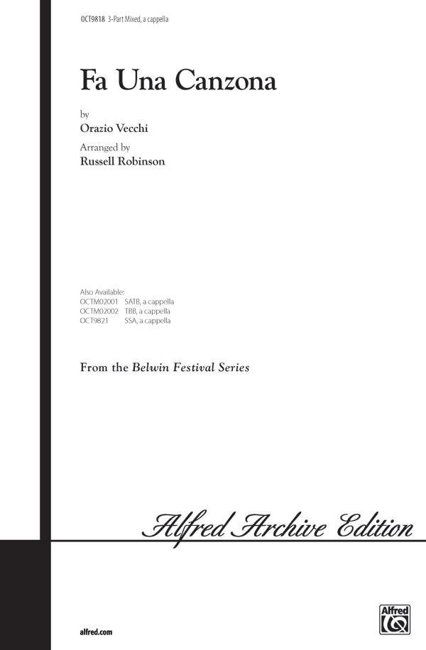 Fa Una Canzona : SAB : Russell Robinson : Sheet Music : 00-OCT9818 : 029156910902