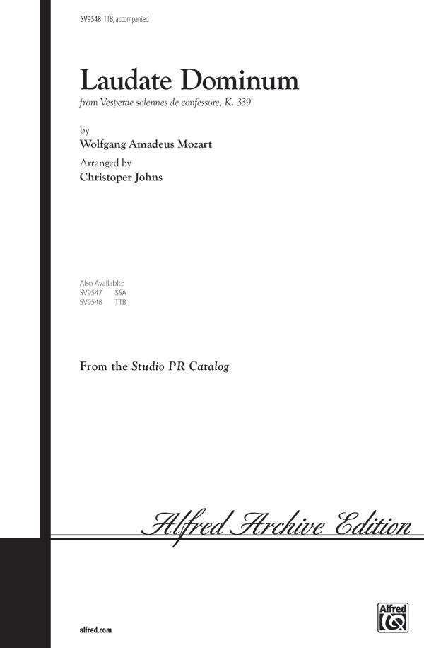 Laudate Dominum : TTB : Christopher Johns : Wolfgang Amadeus Mozart : Sheet Music : 00-SV9548 : 029156146554